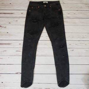 One Teaspoon Black/Dark Grey Distressed Jeans S 26